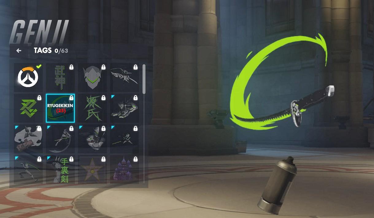 Tag spécifique à Genji sur Overwatch.