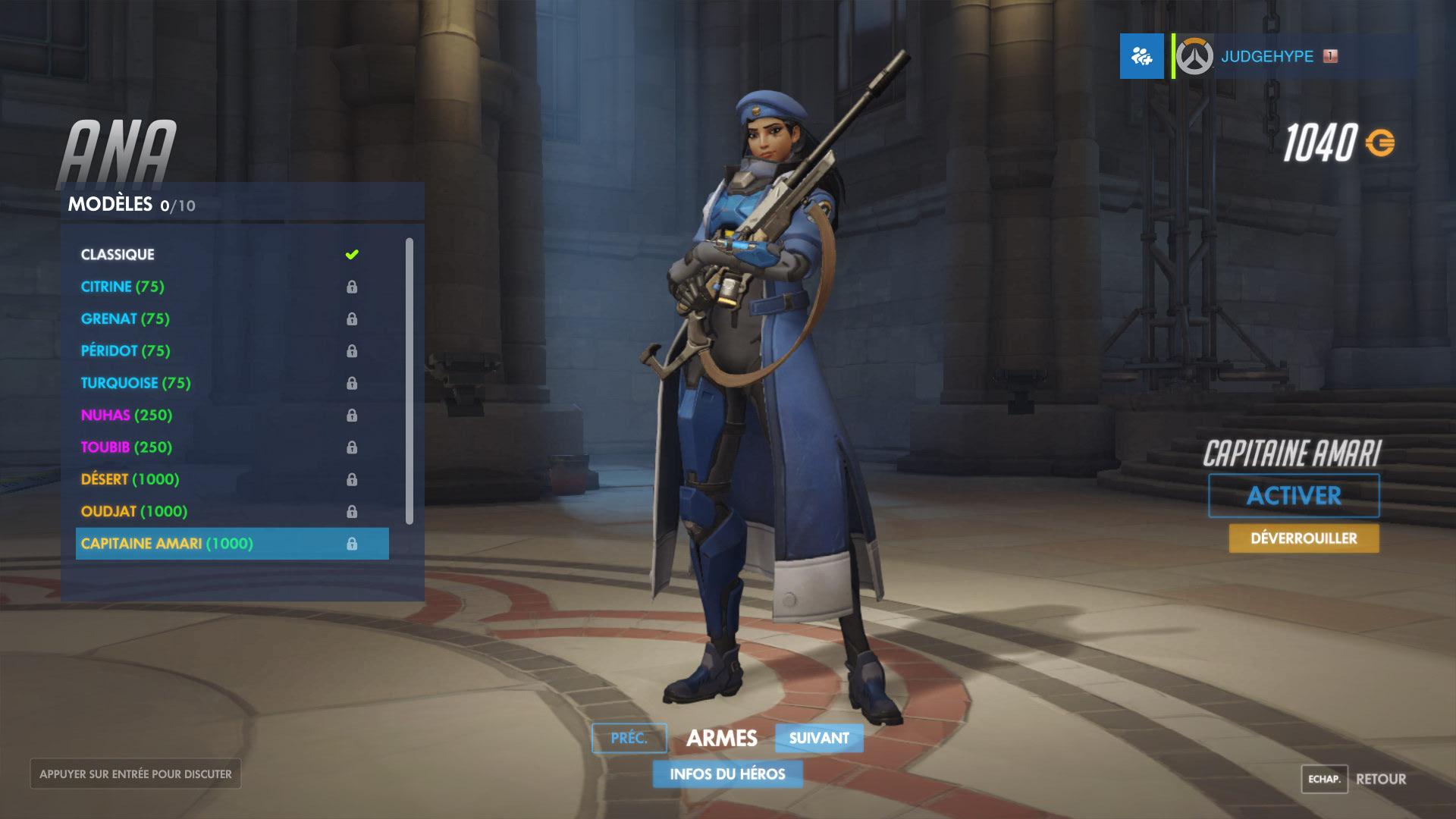 Screenshot d'une apparence d'Ana Amari sur Overwatch.